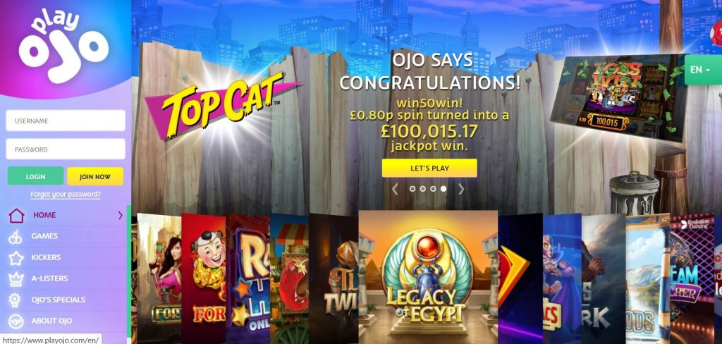 OJO Casino homepage